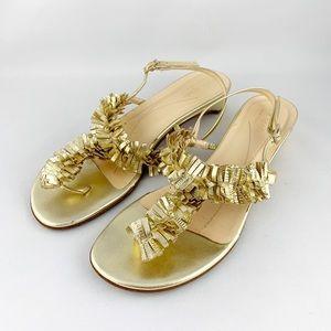 • Kate Spade Gold Thong Sandals Fringe •